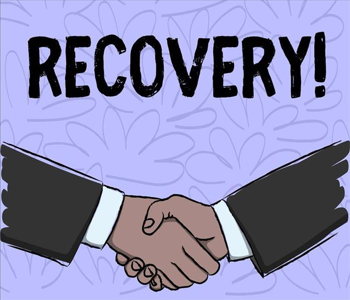 "Cartoon of shaking hands with letters stating ""Recovery!"""