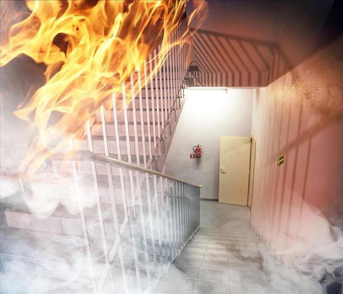 Image of a stair case of a building with smoke and fire